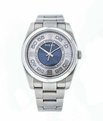 Rolex Oyster Perpetual 36 Mm Silver Blue Concentric Dial Automatic Men S Watch