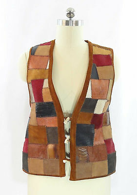 Vtg 70s Patchwork Leather Vest Hippie Antler Buttons Reversible Leopard Uni M/L