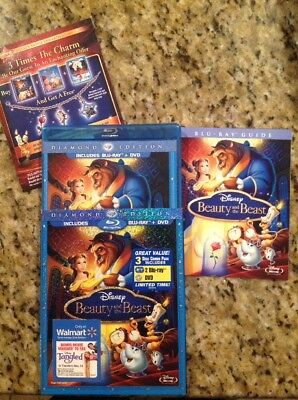 Beauty and the Beast (Blu-ray/DVD,2010,3-Disc,Diamond Edition)Authentic Disney