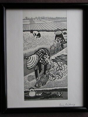 GIHACHIRO OKUYAMA (Rice Picking) Japanese Woodblock  Framed Print