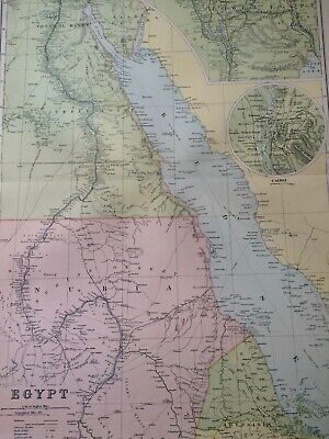 C1898 EGYPT Large Original Antique Map Cairo Nubia Nile Delta Suez Canal Sudan