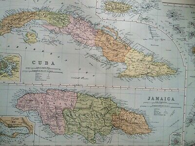 C1898 Cuba & Jamaica Large Original Antique Map Kingston Havana Lesser Antilles
