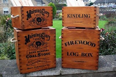 Wooden Rustic Vintage Style Firewood Log Kindling Storage Box Crate Handcrafted