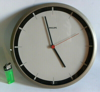 PHILIPS 802 OROLOGIO MURO cm 25 WEST GERMANY 80s WALL CLOCK AGE BRAUN RAMS LUBS