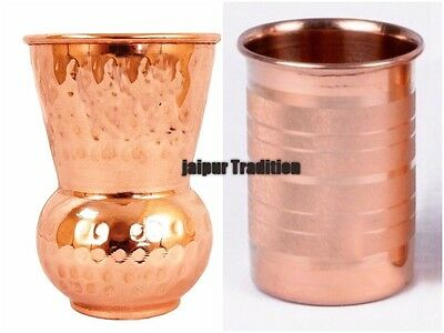 2 Pc Pure Copper Indian Handmade Glass Cup Drinking Waters Free Shipping