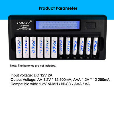 12 Bay LCD Rapid Smart Charger For AA AAA NiMH NiCD Rechargeable Batteries W4Z1