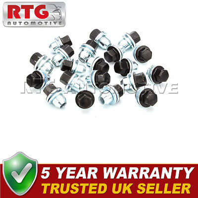 20x Black Wheel Nuts + Washers For Discovery + Range Rover 22mm Hex Shop Soiled