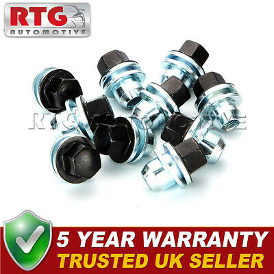 10x Black Wheel Nuts + Washers For Discovery + Range Rover 22mm Hex Shop Soiled
