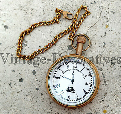 Antique Brass Watch With Chain Working Watch Vintage Nautical Design Watch Decor