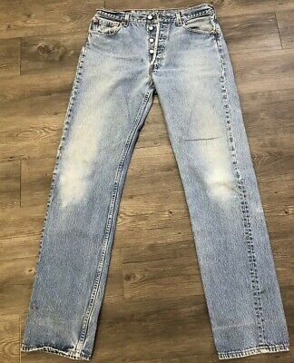 VTG Levis 501 Button Fly Jeans Size 32 X 34 Made USA