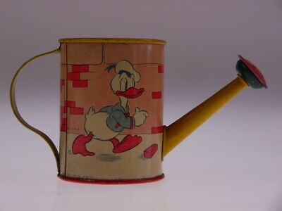 """Gscom Vintage Tin Toys """"donald Duck Watering Can"""" Ohio Art Co Usa 1938 Very Good"""