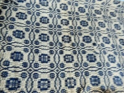 Vintage Blue and White Homespun Coverlet in Beautiful Pattern