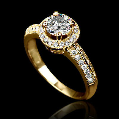 2 Ct Vvs Brilliant Real Accented Diamond 18K Yellow Gold Anniversary Bridal Ring