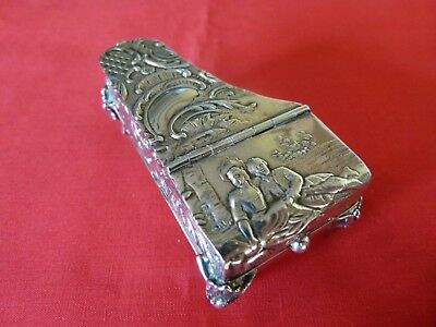 Rare & Collectable 1899 Novelty Solid Silver Regency Piano Form Table Vesta.