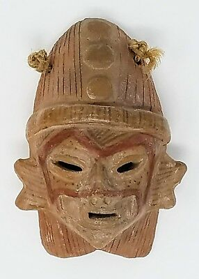 Antique - Pre Columbian Polychrome Pottery Mask - Warrior Shaman with Headdress