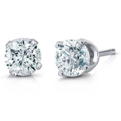 IGI Certified 1/4 Ct Round Cut 14K White Gold Diamond Stud Earrings
