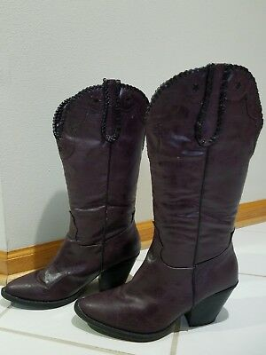 069a7f4de1e Womens Dolce by Mojo Moxy Womens Western Cowboy Boots Size 9 M Eggplant  color