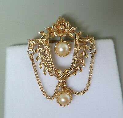 Antique 14K Yellow Gold Pearl Brooch Pendant