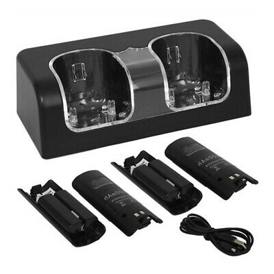 For Nintendo Wii Controller Charge Charger Station Dock Remote Stand Black U8P1D