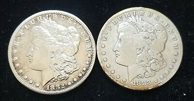 1882-S and 1883-S U.S. Morgan Silver Dollars  /  both polished/cleaned bright