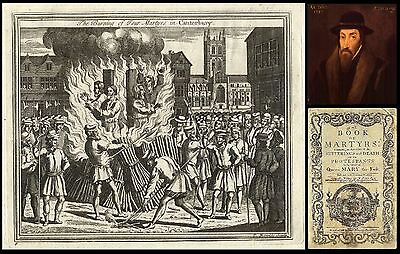RARE! 1760 FOXE'S BOOK OF MARTYRS 'leaf' - BURNING of 4 at CANTERBURY - To Frame