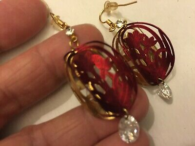 Lazer Cut Hand Craft Red&Gold Real Cz Holiday Pierce Earring