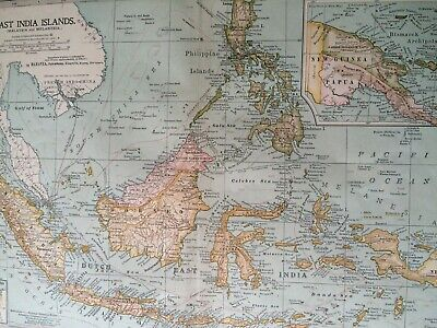 1903 East India Islands Original Antique Map Philippines Borneo Indonesia Guinea