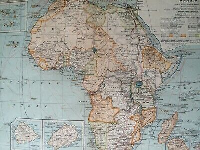 1903 Africa Original Antique Map Continent Vintage Old Colonialism