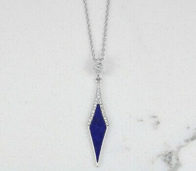 "Perfect Everyday Lapis Lazuli & Diamond Pendant In 18"" Necklace 14K Gold"
