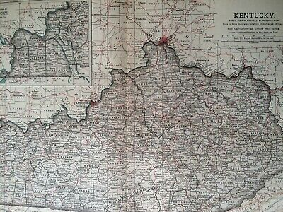 1903 Kentucky Original Antique Map United States State Map Vintage