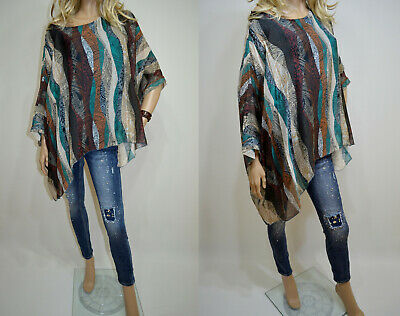 0a914fc359d 14 16 18 20 Italian Boutique Lagenlook 100% Silk Plus Size Tunic Poncho  Lovely