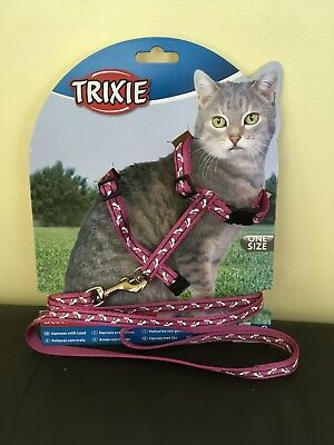Cat -Rabbit-Adjustable Harness & Lead PINK- Adjustable Nylon Pet Cat