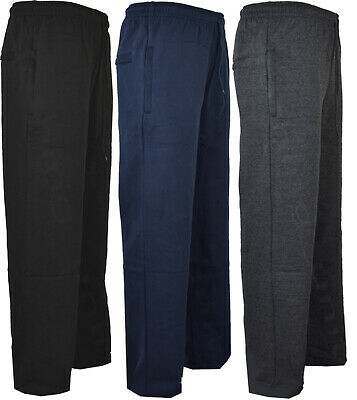 Mens Elasticated Waist Smart Jogger Jogging Bottom Trousers Open Hem Gym M-5XL