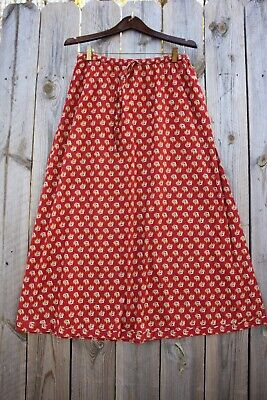 07fdb403a4 LAURA ASHLEY LONG Red Calico Cotton Vintage Style A-line Skirt, Size ...