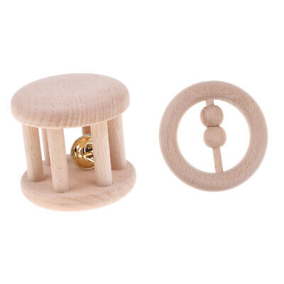 2pcs Natural Wooden Baby Grasping Toys Teething Ring Teether Rattle Set
