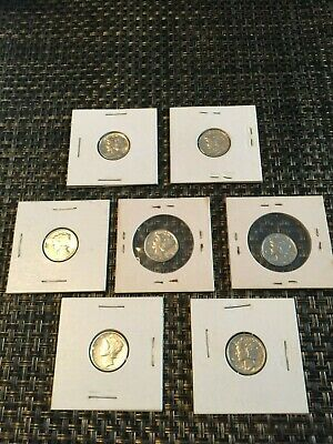 Lot of (7)~1930-1940's U.S. Mercury Dimes - 90% Silver~Uncirculated