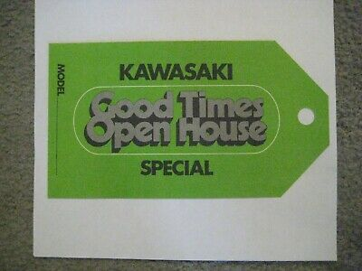 Kawasaki Z1-R/kz/kl/kx/kv/km/kh Dealer Hang Tag For 1978 Models Nos!