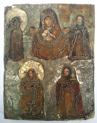 """Antique 19th C Russian Hand Painted and Embroidered Icon the """"'Sign"""""""