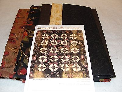 GINGER ROSE Quilt Kit Pattern & Fabric by Nancy Murty for Andover 28x34""
