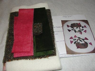 HEART BASKET Wool Applique Table Mat Kit Carriage Country Quilts 13.5x10""