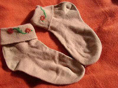 Vintage 40s 50s Embroidered Wool Socks Anklets Tan XS