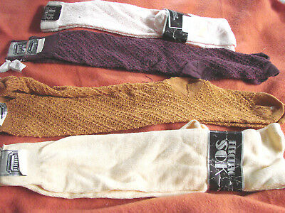 Vintage 80s NOS Knee Socks LOT 4 Rayon ELECTRIC SOK M EC POINTELLE TAGS