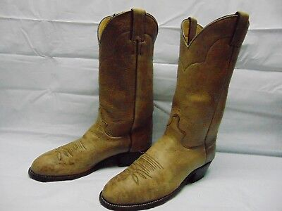 7259e290db6 JUSTIN 1325 MEN'S 9 D Tan Deer Skin Leather Pull On Western Cowboy Riding  Boots