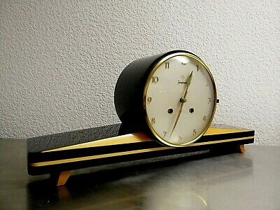 Art Deco Junghans Desk Clock  Beautiful  Wooden Base Vintage 60's