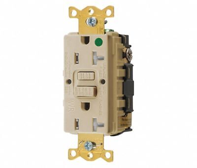 GFCI Receptacle,20A,125VAC,5-20R,Ivory HUBBELL WIRING DEVICE-KELLEMS GFTWRST83I