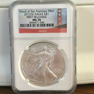 2012(S) Silver Eagle Struck at San Francisco Mint NGC MS70 First Release Bridge