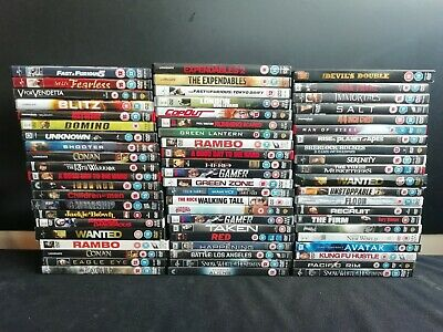 64 x Action DVD's - Taken, Rambo, Wanted, Avator & more (E702)