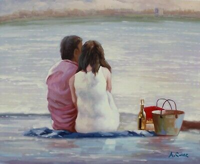"Picnic on the shore original Russian oil painting by Andrey Stas 24x30"" 62x77 cm"