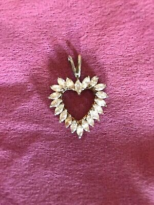 OPEN HEART CHARM PENDANT W/ BAGUETTE DIAMOND Gold Covered 925 STERLING SILVER