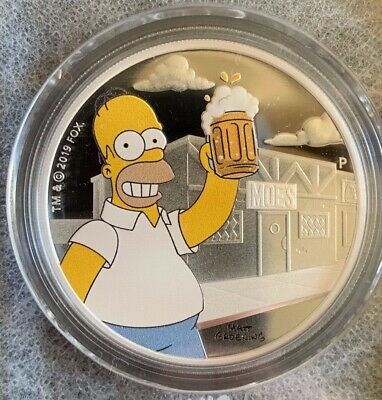 Perth Mint, 2019 Simpsons TUVALU Silver Bullion Coins, 1oz Homer Proof Coin